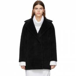Harris Wharf London Black Alpaca Teddy Double-Breasted Coat A2457 MVF