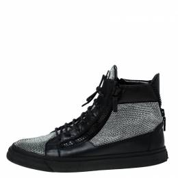 Giuseppe Zanotti Design Black Leather and Crystal Embellished High Top Sneakers Size 45 230429