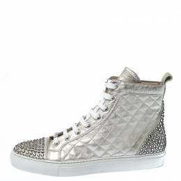 Le Silla Pearl White Metallic Quilted Leather and Suede Crystal Embellished Lace High Top Sneakers Size 38 230462