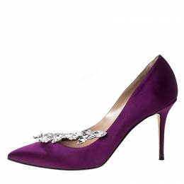 Manolo Blahnik Purple Satin Nadira Crystal Embellished Pointed Toe Pumps Size 37 231736