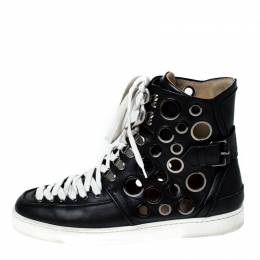 Christian Louboutin Black Leather Alfibully High Top Lace Up Sneakers Size 42 231964
