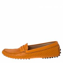Tod's Orange Lasercut Leather Gommino Driving Loafers Size 39.5 232267