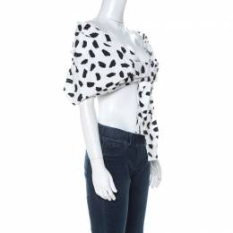 Off-White Monochrome Pois Print Oversize Off The Shoulder Crop Top M 230031