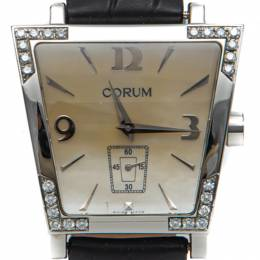White Mother Of Pearl Dial Trapeze Steel Diamond Watch 36MM Corum