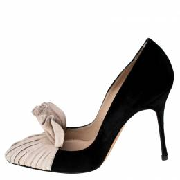 Manolo Blahnik Beige And Black Suede Arleti Frill Detail Pumps Size 37 232978