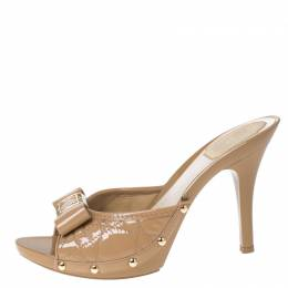 Dior Beige Cannage Quilted Patent Leather Bow Detail Peep Toe Clogs Size 38.5 232304