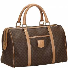 Celine Brown Macadam PVC Boston Bag