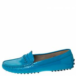 Tod's Blue Patent Leather Gommino Loafers Size 37.5 Tod's