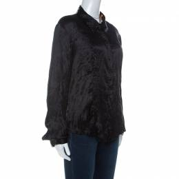 Just Cavalli Black Satin Contrast Collar and Cuff Button Front Shirt L 234638
