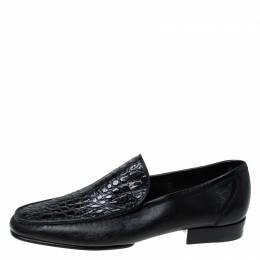 Moreschi	 Black Croc Leather Loafers Size 40.5 235108