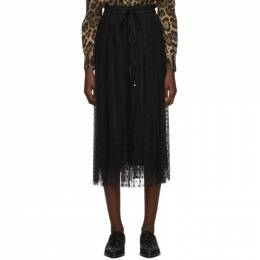 Dolce and Gabbana Black Tulle Pleated Polka Dot Skirt 192003F09200401GB