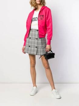 Moschino - logo patch zip-front hoodie 95550395539590000000