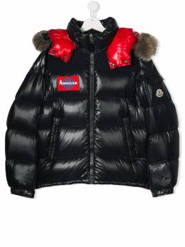 Moncler Kids - TEEN logo embroidered padded coat 56056895695588965000