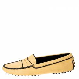 Tod's Light Yellow Leather Gommino Loafers Size 39.5 Tod's