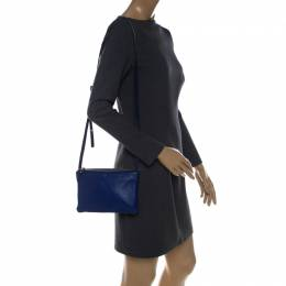 Celine Blue Leather Small Trio Crossbody Bag