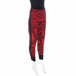 Alexander McQueen Black and Red Printed Knit Jogger Pants S 233813