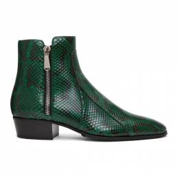 Balmain Green and Black Python Mike Boots 192251M22800506GB