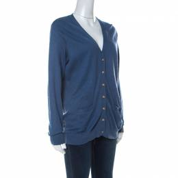 Ralph Lauren Blue Cashmere Blend Boyfriend Fit Cardigan XL 235362