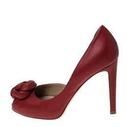 Valentino Red Rose Applique Leather D'Orsay Pumps Size 36 236102