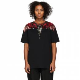 Marcelo Burlon County Of Milan Black Geometric Wings T-Shirt 192539F11001106GB