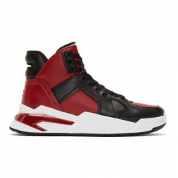 Balmain Black and Red B-Ball High-Top Sneakers 192251M23600304GB