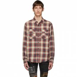 Amiri Red and White Flannel Shirt 192886M19201202GB