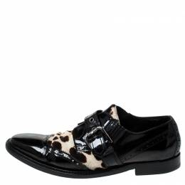 Dolce and Gabbana Black Patent Leather And Leopard Print Pony Hair Monk Strap Derby Size 41 237660