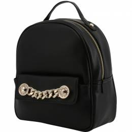 Versace Jeans Black Faux Leather Backpack 236679