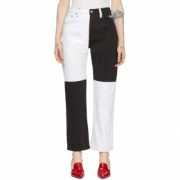MSGM Black and White Colorblocked Jeans 192443F06900302GB