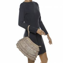 Alberta Ferretti Beige Leather Fringed Wristlet Clutch 234430