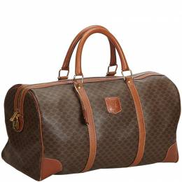 Celine Brown Leather Macadam Duffle Bag