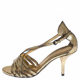 Bottega Veneta Metallic Gold Crackled Leather Strappy Sandals Size 39.5 233354