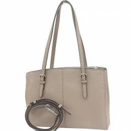 Coach Beige Leather Turnlock Caryall Tote 238838