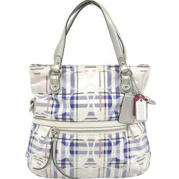 Coach Blue/White Satin Canvas And Leather Poppy Tartan Tote 238850