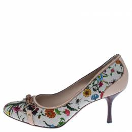 Gucci Multicolor Floral Printed Canvas Bamboo Horsebit Pumps Size 40 238196