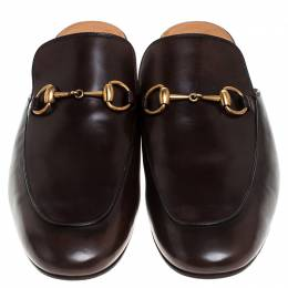 Gucci Brown Leather Horsebit Mules Size 44 239025