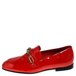 Burberry	 Red Patent Leather Chillcot Loafer Size 38