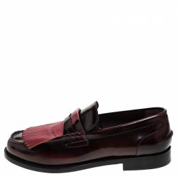 Burberry	 Burgundy Leather Bedmoore Fringe Detail Penny Loafers Size 45