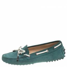 Tod's Green Suede Bow Loafers Size 35 Tod's