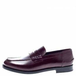 Burbery Dark Burgundy Leather Bedmont Loafers Size 45.5 Burberry