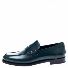 Burbery Dark Green Leather Bedmont Loafers Size 45 Burberry