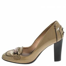 Tod's Beige Patent Leather Block Heel Loafer Pumps Size 37 Tod's