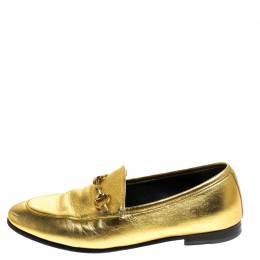 Gucci Gold Leather Jordaan Horsebit Loafers Size 37.5