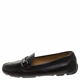 Salvatore Ferragamo	 Brown Leather Parigi Bit Loafers Size 37
