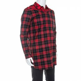 Givenchy Red Contrast Plaid Cotton Cross-Shoulder Buttoned Long Shirt M