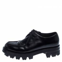 Prada Black Leather Lug Sole Lace Up Oxford Size 42 238507