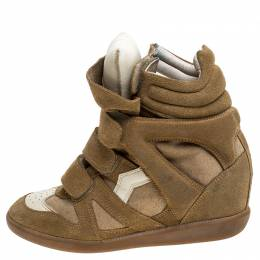 Isabel Marant White/Beige Suede And Leather Bekett Wedge Sneakers Size 38 241327
