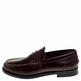 Burbery Burgundy Leather Bedmont Penny Loafers Size 45 Burberry