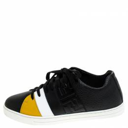 Fendi Black Leather Low Top Sneakers Size 37 240696