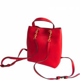Tory Burch Red Leather Drawstring Backpack